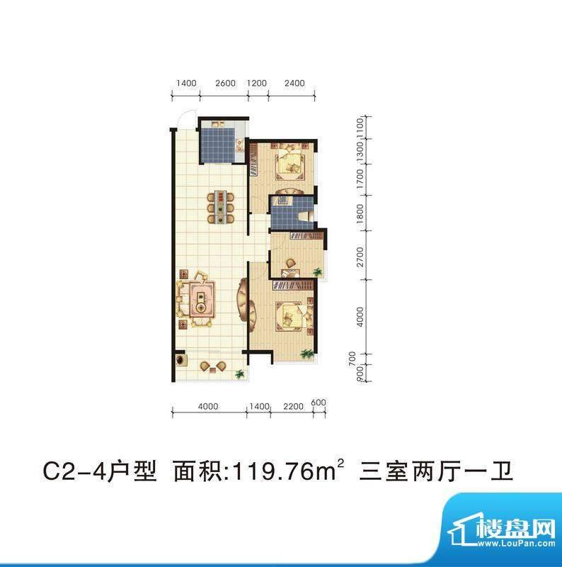 城市绿岛C2-4 3室2厅面积:119.76m平米