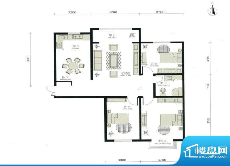 华茂名居F户型 3室2面积:132.13m平米
