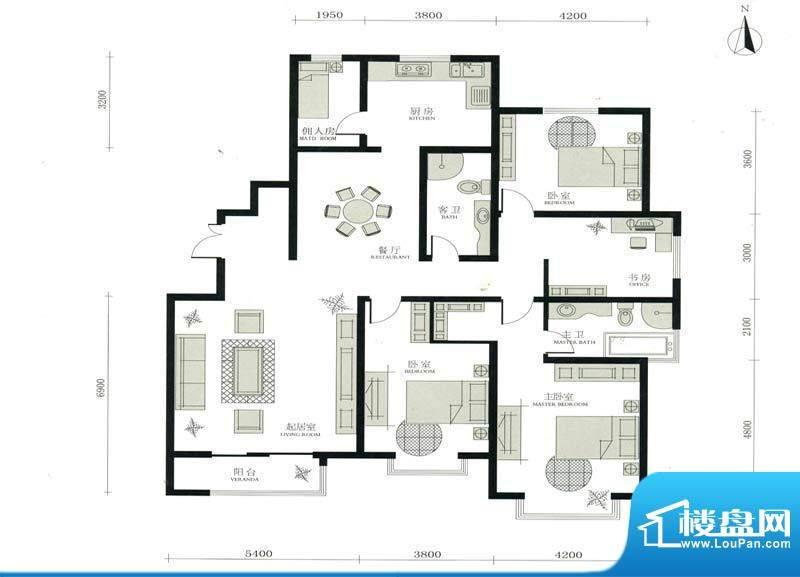 华茂名居I户型 4室2面积:206.36m平米