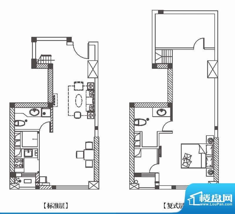 中环城公寓新户型H5面积:50.00平米