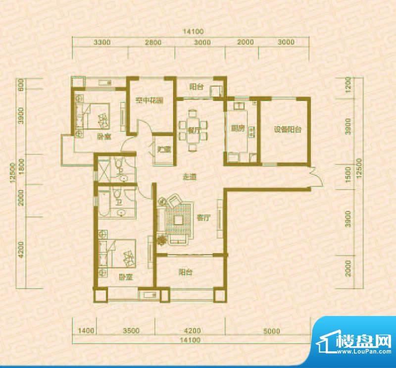 中环城D2 2室2厅2卫面积:125.00平米