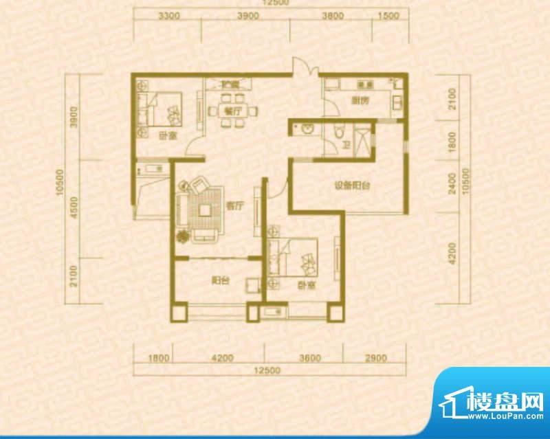 中环城B1户型 2室2厅面积:103.00平米