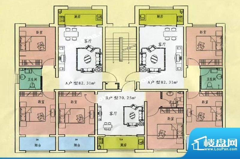 万生泉财富家园AB户面积:82.31m平米