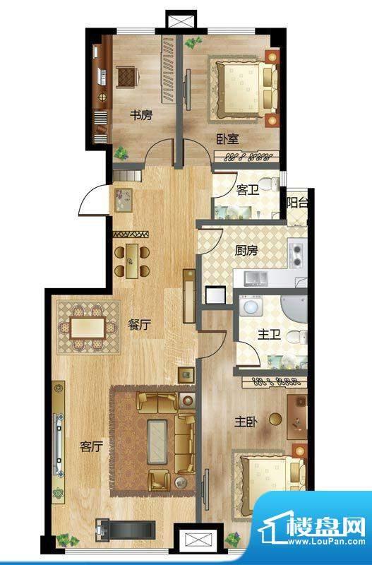 梦溪苑G户型 3室2厅面积:144.05m平米