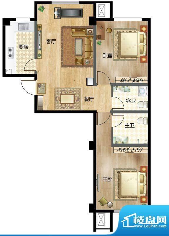 梦溪苑B户型 2室2厅面积:98.00m平米