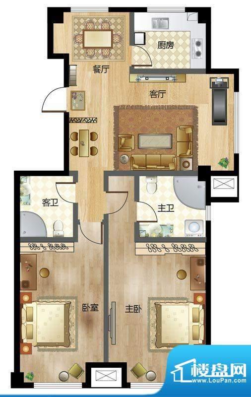 梦溪苑F户型 2室2厅面积:124.00m平米