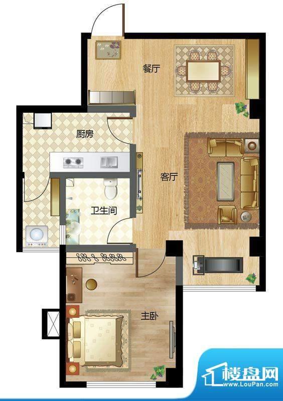 梦溪苑A户型 1室2厅面积:71.63m平米