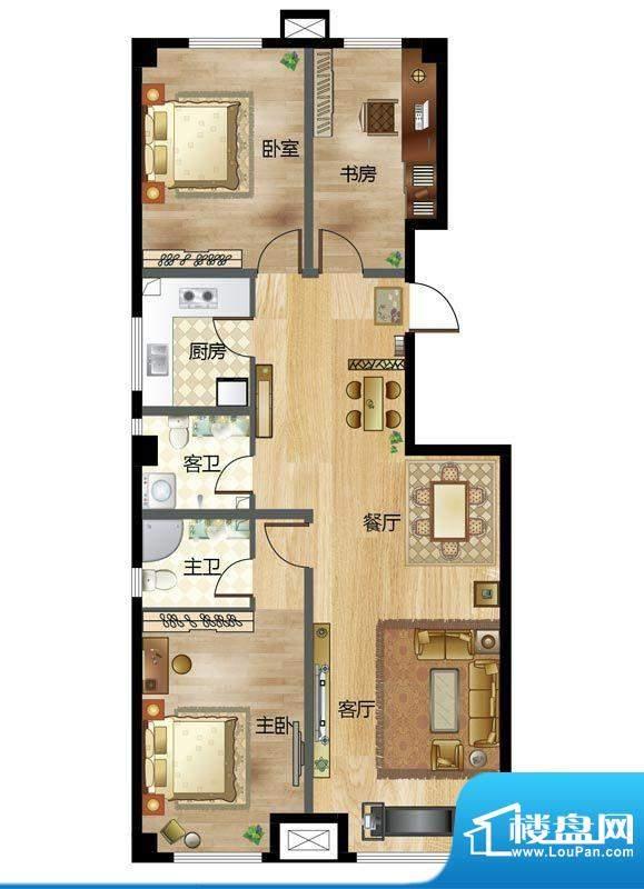 梦溪苑E户型 3室2厅面积:131.68m平米