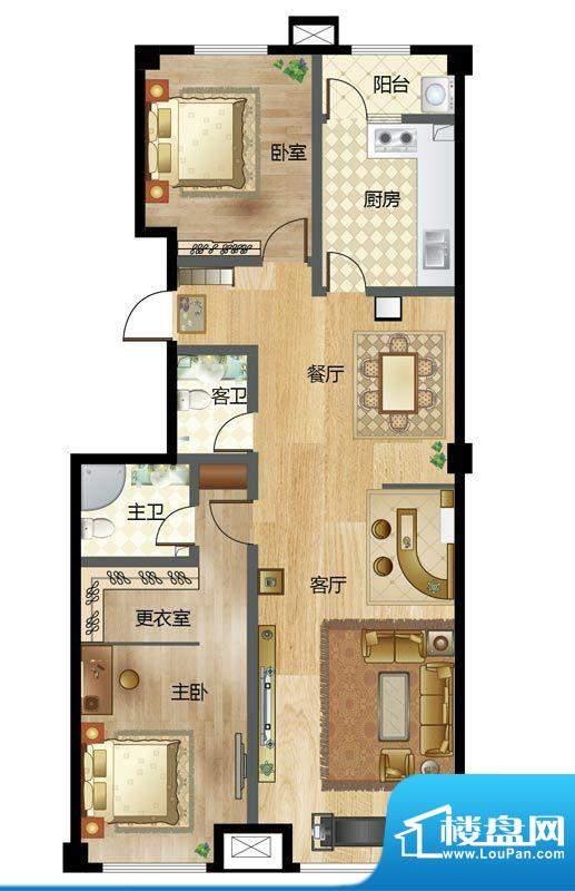 梦溪苑D户型 2室2厅面积:139.00m平米