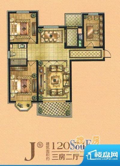 帝景豪庭j 3室2厅1卫面积:120.74m平米