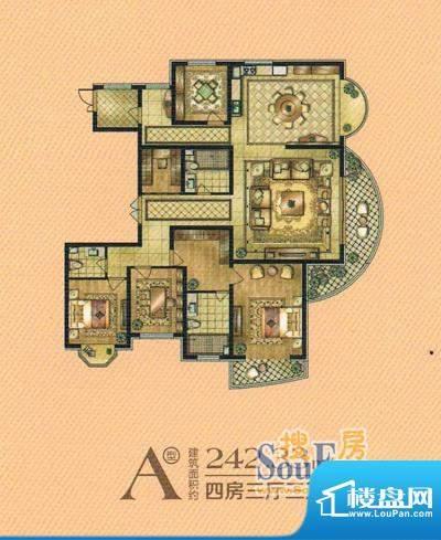 帝景豪庭a1 4室3厅3面积:242.33m平米