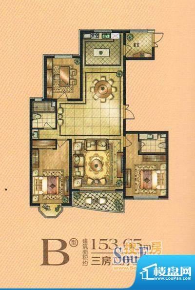 帝景豪庭b 3室2厅2卫面积:153.62m平米