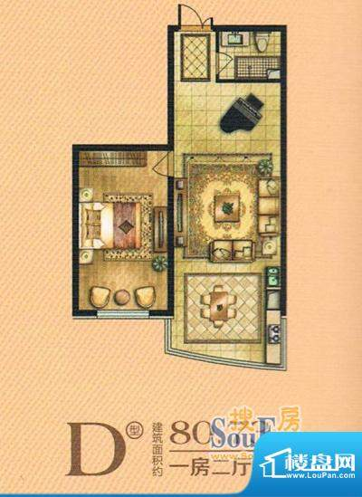 帝景豪庭d 1室2厅1卫面积:80.73m平米