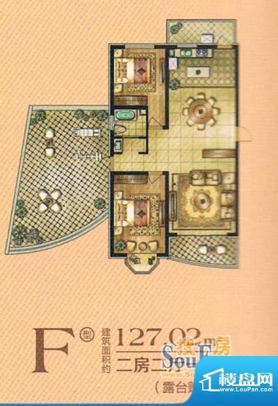 帝景豪庭f 2室2厅1卫面积:127.02m平米