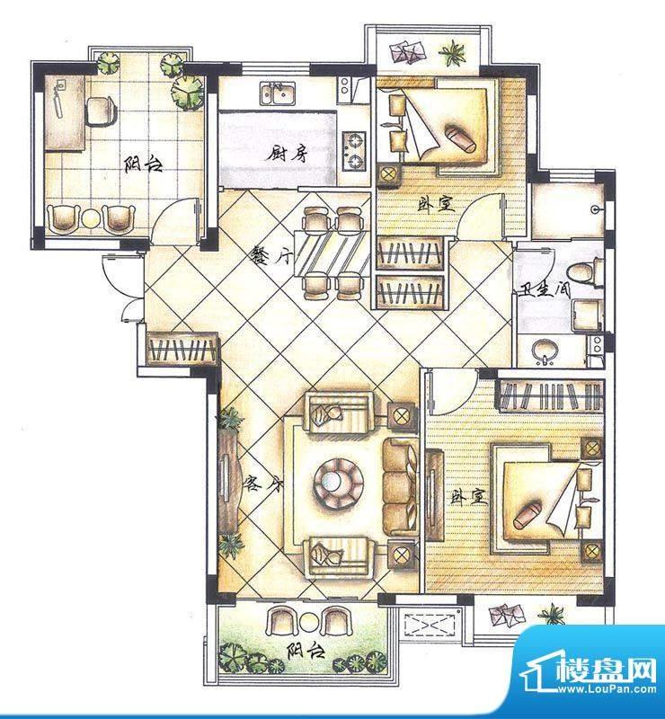 京熙帝景A1户型 2室面积:87.30m平米