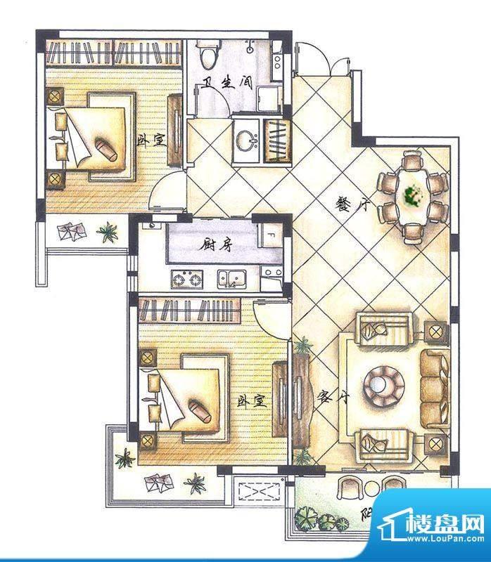 京熙帝景A2户型 2室面积:86.70m平米