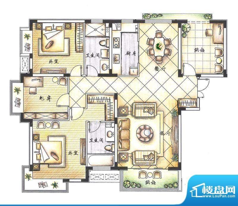 京熙帝景B1户型 3室面积:138.40m平米