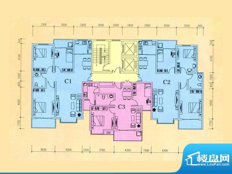 豪迈世纪馨园4#楼C1面积:127.12m平米