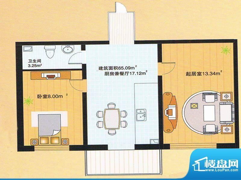 牡丹江裕华园4号楼户面积:65.09m平米
