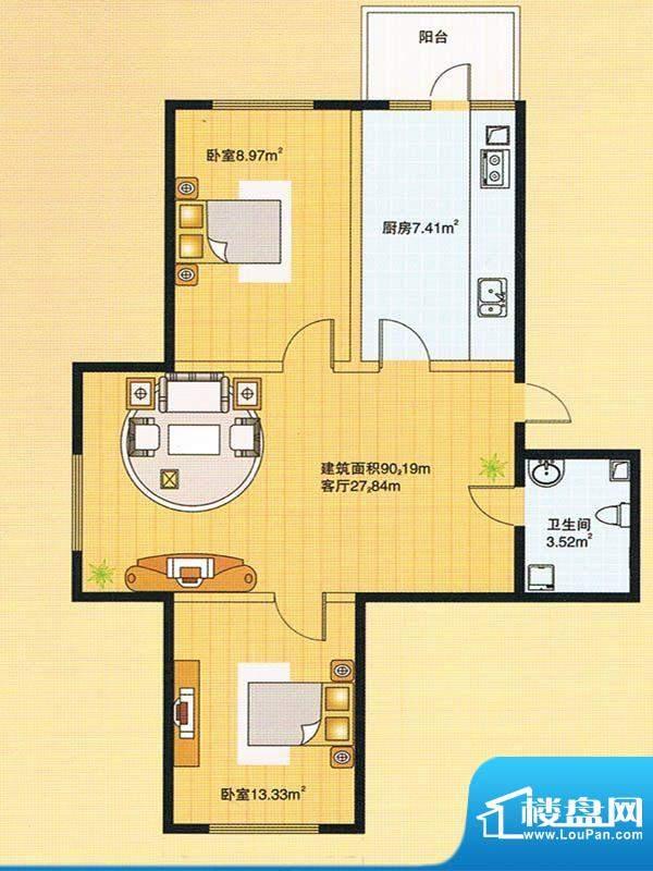 牡丹江裕华园2号楼户面积:90.19m平米