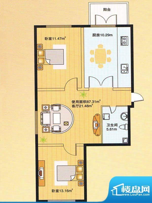 牡丹江裕华园8号楼户面积:97.31m平米