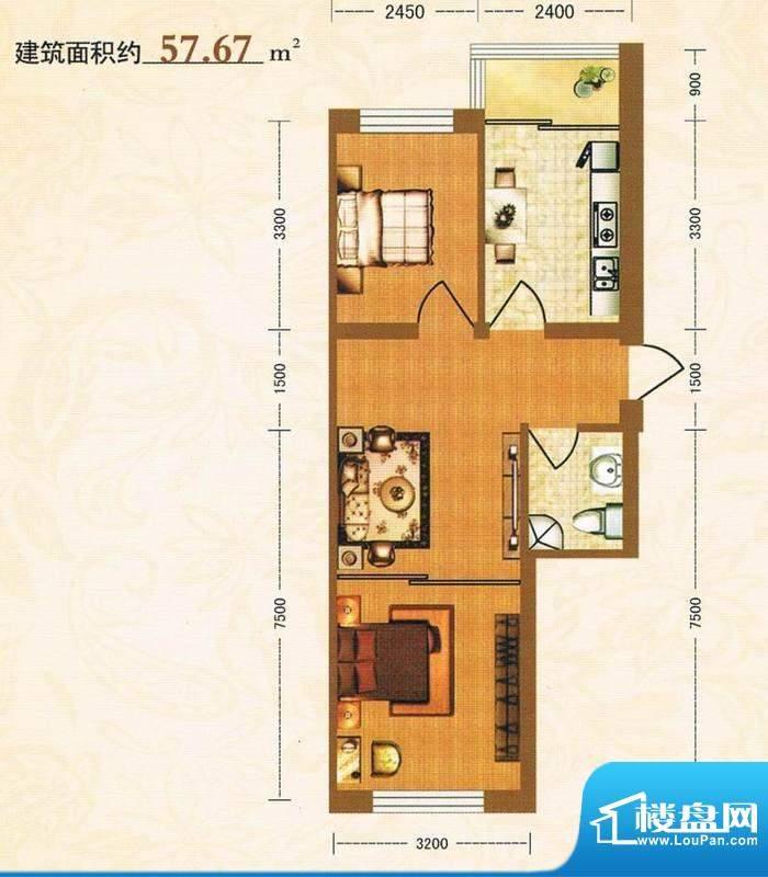 金洲家园57.67平方米面积:57.67m平米