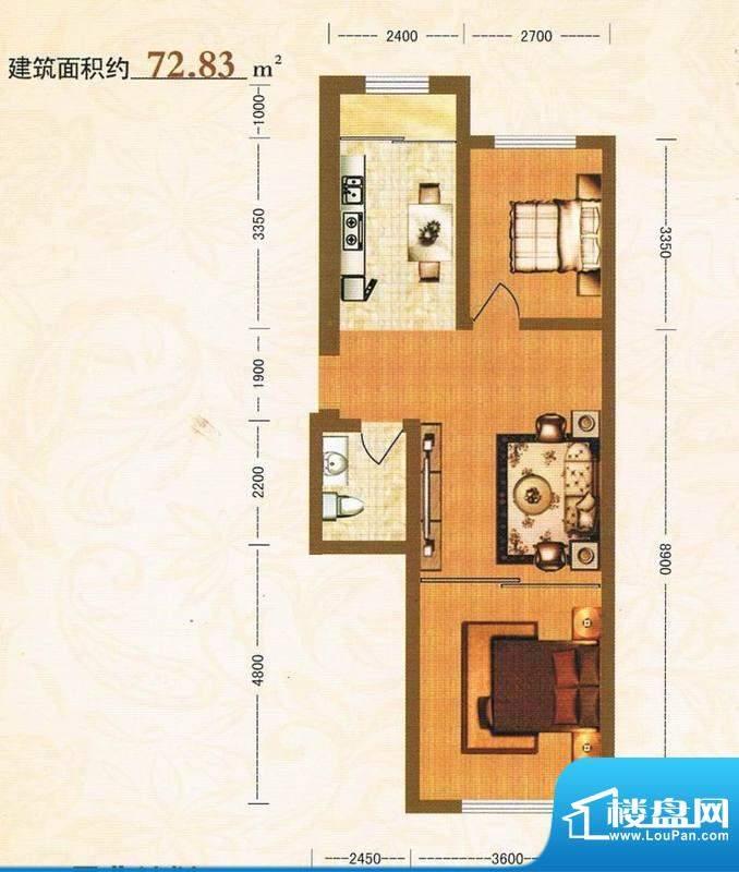 金洲家园72.83平方米面积:72.83m平米
