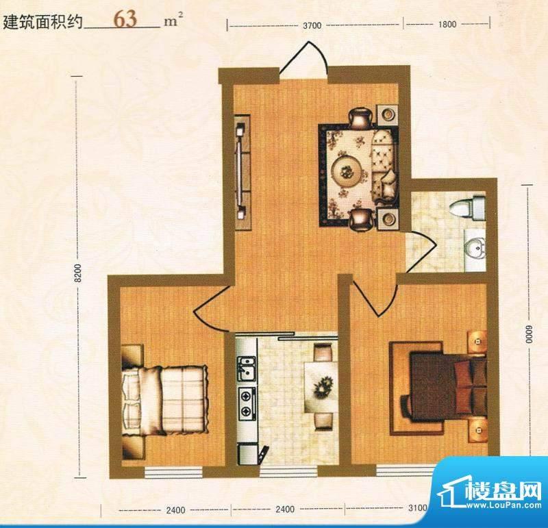 金洲家园63平方米面积:63.00m平米