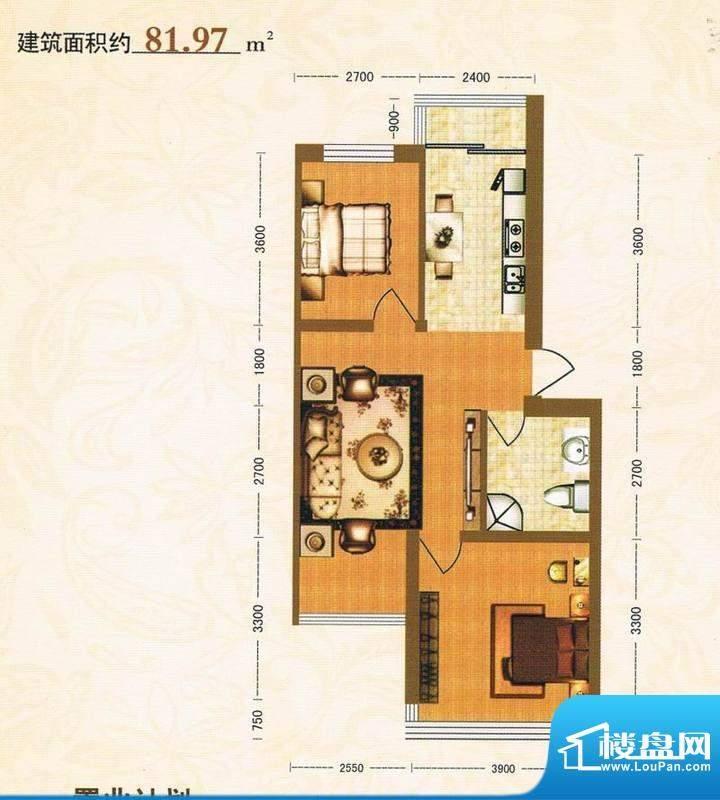 金洲家园81.97平方米面积:81.97m平米