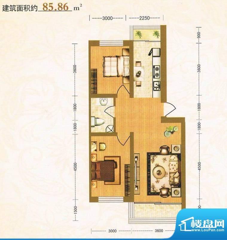 金洲家园85.86平方米面积:85.86m平米