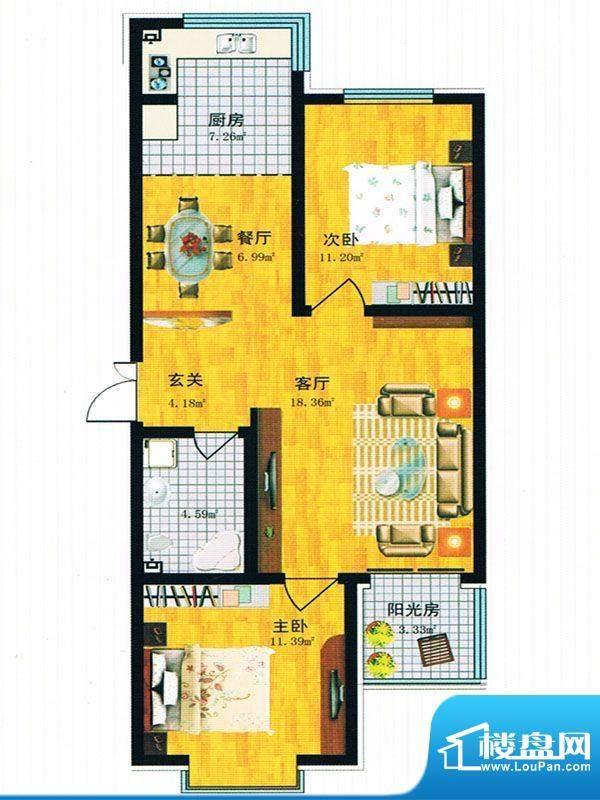 青青学邻 J户型面积:92.21m平米