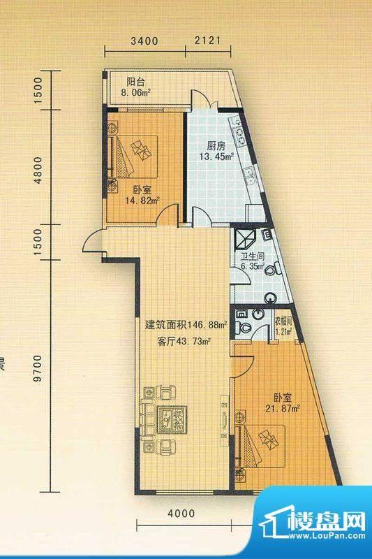 丽水蓝天 二单元一号面积:146.73m平米