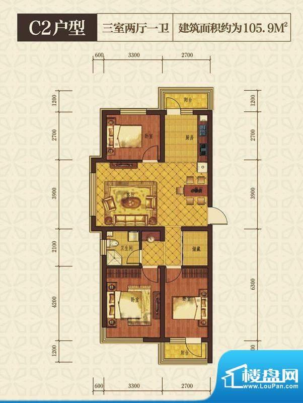 西城国际户型C2 3室面积:105.90m平米