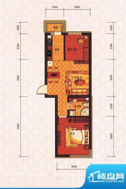 西城国际C4户型图面积:70.80m平米