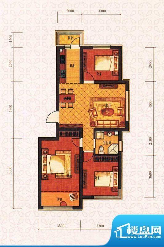 西城国际A2户型图面积:105.85m平米