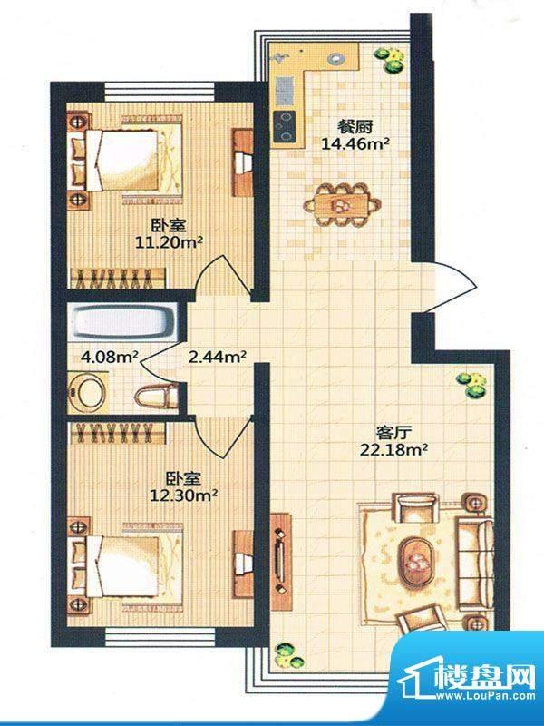 金河湾36号楼面积:86.99m平米
