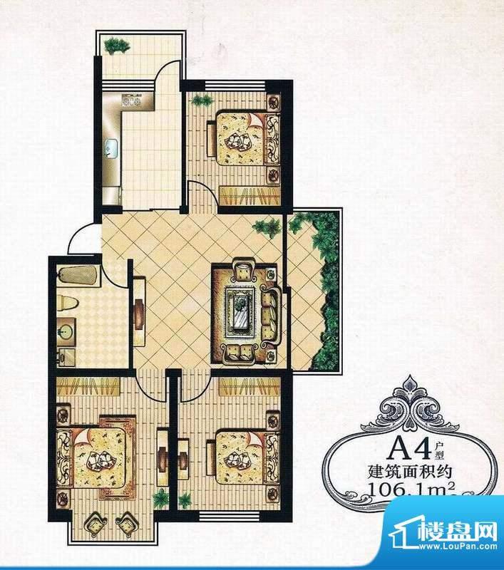 绿洲春城106.1 3室 面积:106.10m平米