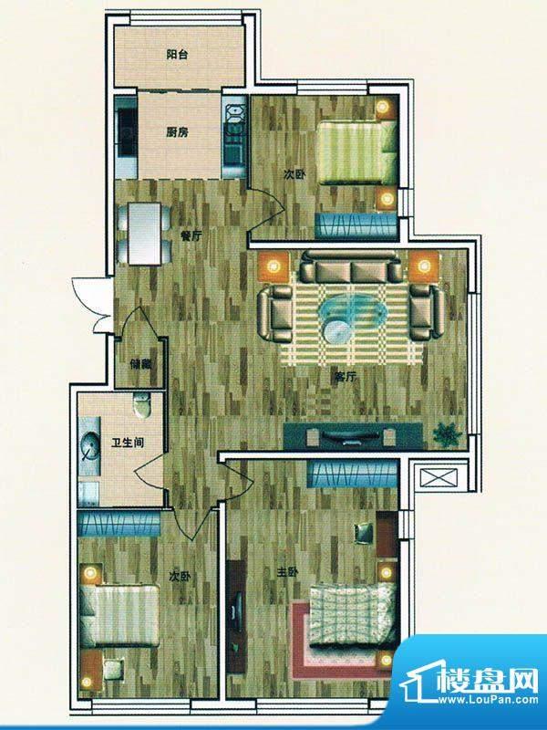 绿洲春城 3号楼 户型面积:134.66m平米