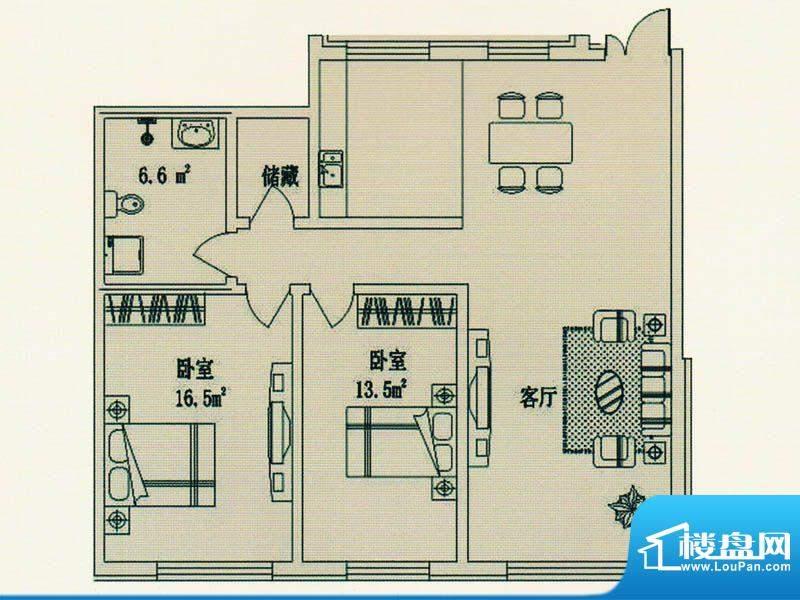 绿洲春城5号楼 户型面积:125.91m平米