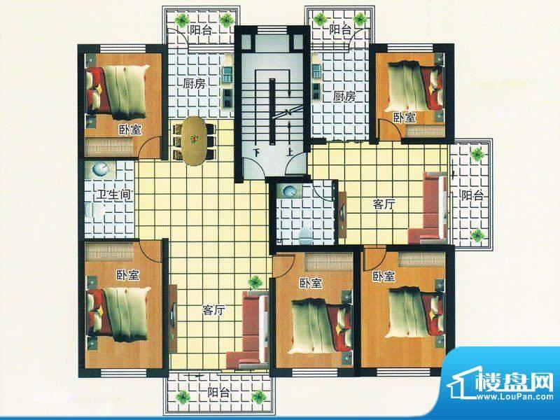 绿洲春城 2号楼 户型面积:126.65m平米