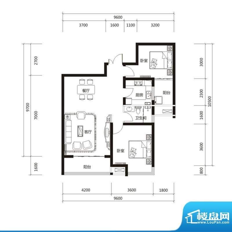 泉舜财富中心6期8户面积:96.00m平米