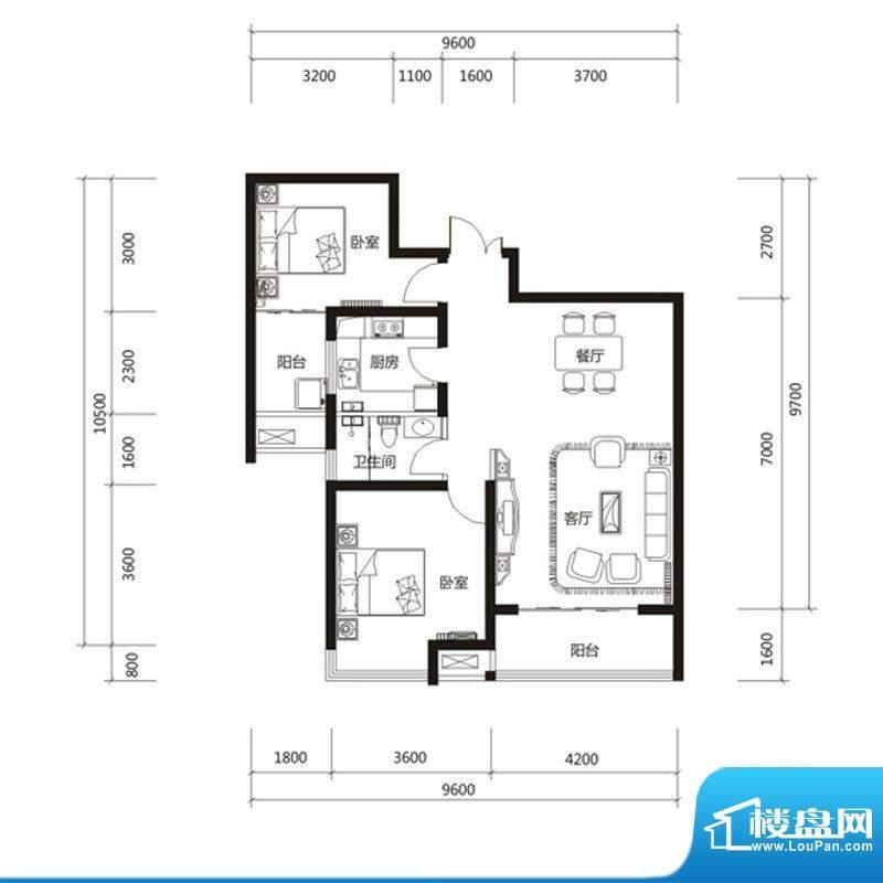 泉舜财富中心6期7户面积:96.00m平米
