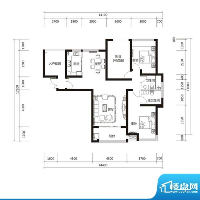 泉舜财富中心6期6户面积:129.00m平米
