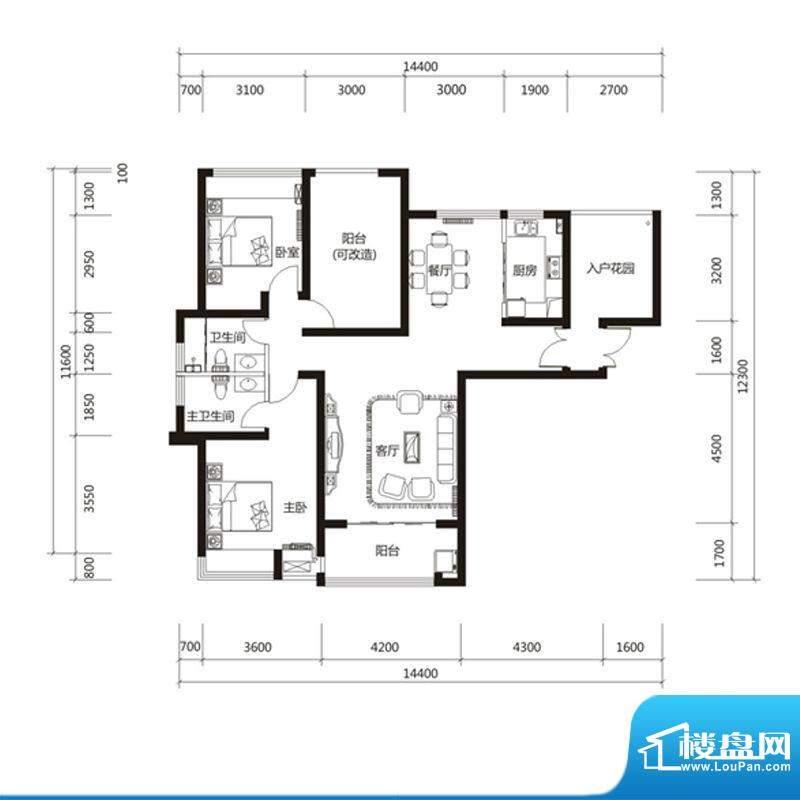 泉舜财富中心6期5户面积:130.00m平米