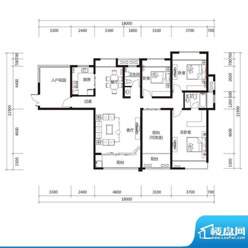 泉舜财富中心6期4户面积:156.00m平米