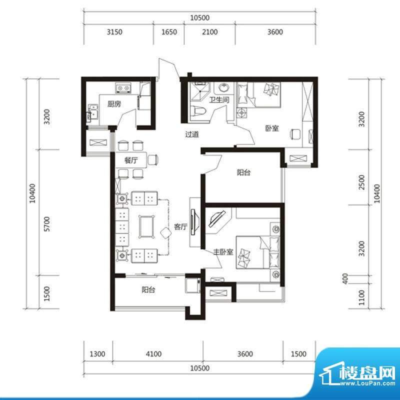 泉舜财富中心6期3户面积:96.00m平米