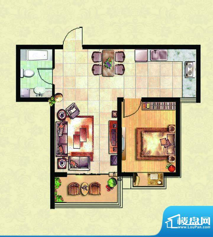 千里壹家园1#楼户型面积:62.78m平米