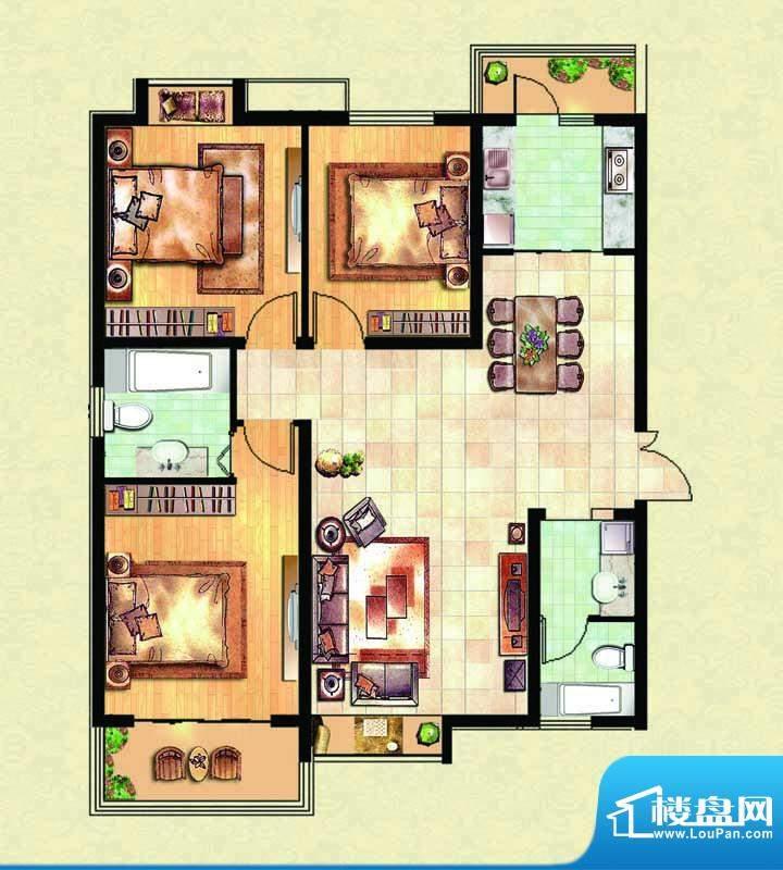 千里壹家园2#楼户型面积:130.48m平米