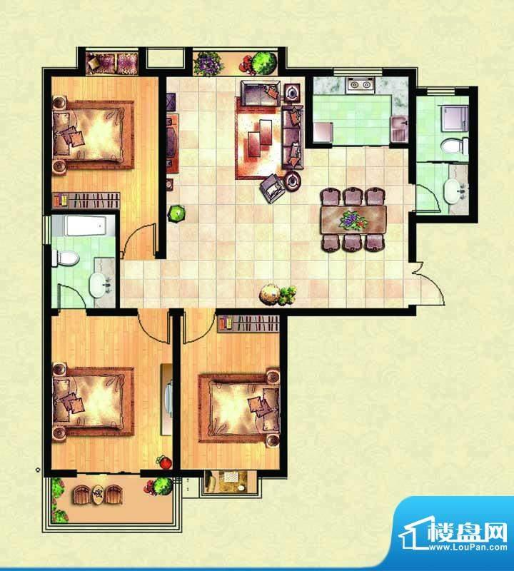 千里壹家园1#楼户型面积:137.26m平米