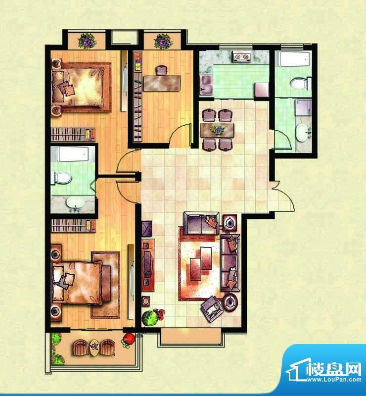 千里壹家园1#楼户型面积:135.09m平米